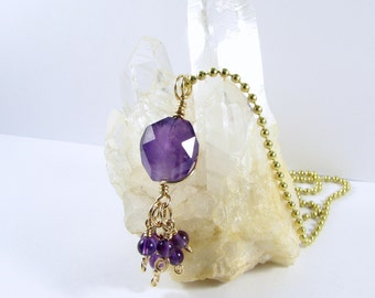 Genuine Amethyst 14k Gold Filled wire wrapped Tassel Pendant Necklace Gemstone Birthday Gift February