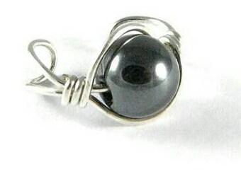 Ear Cuff Large Bead Sterling Silver Ear Cuff Ear Wrap Non Pierced Cartilage Earring Hematite Ear Cuff