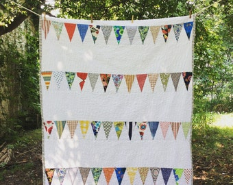 single bed - large throw - bunting flag quilt -- pennant quilt --