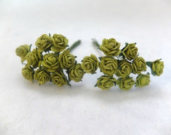 20 rose - 10mm green paper roses - paper rose - 1cm paper rose - green paper flowers - green mulberry paper flowers