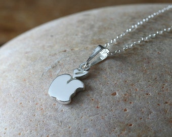 Apple Pendant Charm Necklace in Sterling Silver, Gift for Her, Small Pendant, Womens Jewelry, Minimal Pendant, Womens Necklace, Simple