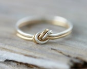 Two strand knot ring - silver and rose or yellow gold filled ring, promise or friendship ring