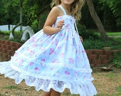 Flower Girl, romantic twirl dress, shabby chic, tea party dress, Easter dress, birthday blue pink dress, lace, Size 12 months  to 12 yrs