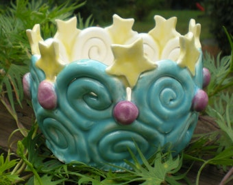 Hand sculpted ceramic Stars and Swirls container