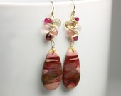 Special Offer - Mookaite Jasper Dangle Earrings with Sapphire Rose Quartz Gem Weave