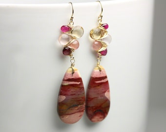 Mookaite Jasper Dangle Earrings with Sapphire Rose Quartz Gem Weave