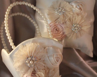 Flower Girl Basket/Ring Bearer Pillow  Ivory or White Lace Flowers,  Satin Flowers Champagne and Rhinestones and Pearls-Custom Accent Colors