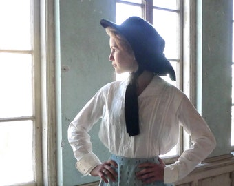 Edwardian Era Merry Widow Black Wide Brim Hat