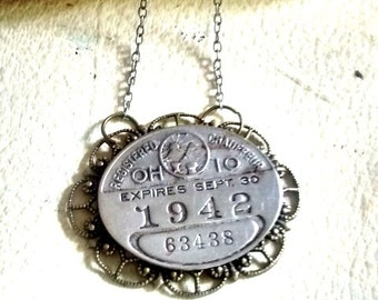 vintage chauffeurs license 1942  necklace jewelry repurposed   authentic memorabilia