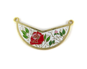 Vintage Red & Pink Rose Flowers on White - Cloisonne Enamel Pendants (2X) (E505)