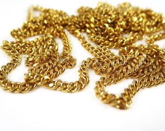 Vintage Gold Plated Flat Curb Chain (4 feet) (C549)