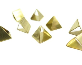 Raw Brass Tapered Pyramid Triangle Tube Charms (6x) (K104-A)