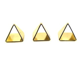 Tiny Gold Plated Pyramid Triangle Tube Charms (6x) (K106-C)