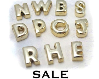 Vintage Gold Plated Letter Bead Pendants- You Choose (A537-A538) SALE - 25% off