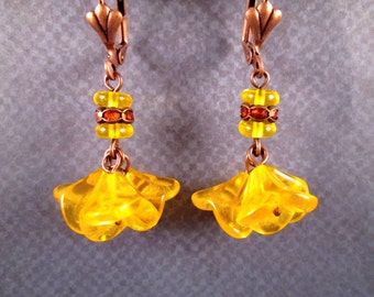 Orange Blossom Earrings, Rhinestone and Flower, Copper Dangle Earrings, FREE Shipping U.S.