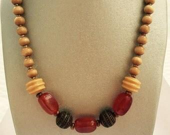 Natural Blonde Wood Necklace