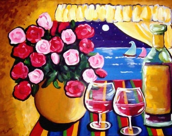 Roses Sailboats Wine Whimsical Still Life Colorful Folk Art Giclee Print
