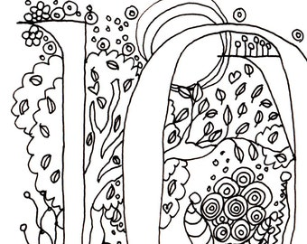 LOVE, Colour-Me-In Illuminated word, letters, original art  drawings by melanie j cook