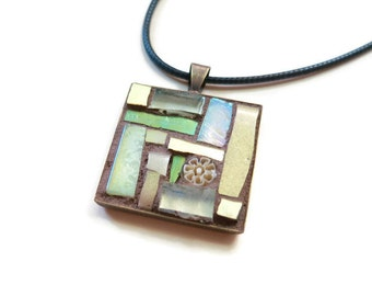 Cream Yellow Mosaic Pendant with Bronze Bezel