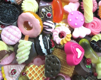 12pc assorted decoden cabochons, mix of miniture kawaii dessert pastry cabs