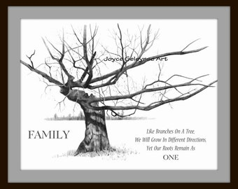 Art Print: FAMILY, Freehand Pencil Drawing, Gnarly Old Tree, Twisted Branches, Realism Art, Family Unity, Quote About Family Roots