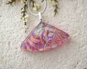 Pink Rainbow Necklace, Dichroic Jewelry, Pink Necklace, Dichroic  Pendant, Fused Glass Jewelry, Dichroic Jewelry, Silver Chain 072115p103