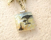 Giraffe and Baby Necklace, Fused Glass Jewelry, Dichroic Jewelry, Giraffe Necklace, Necklace Included, Safari Jewelry, African 082415p102