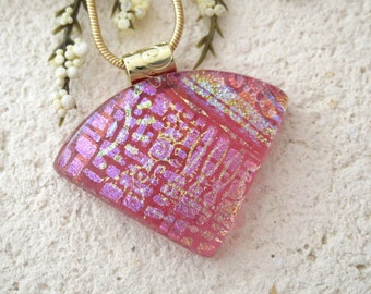 Pink Fuchsia Gold Necklace, Dichroic Jewelry, Wedge Necklace, Dichroic  Pendant, Fused Glass Jewelry, Dichroic Jewelry,Gold Chain 072115p105