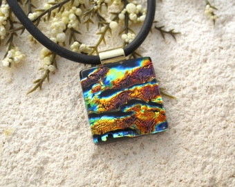 Petite Necklace, Glass Jewelry, Dichroic Jewelry, Gold Copper Black, Fused Glass Jewelry,Dichroic Pendant, Necklace Included, 090115p108