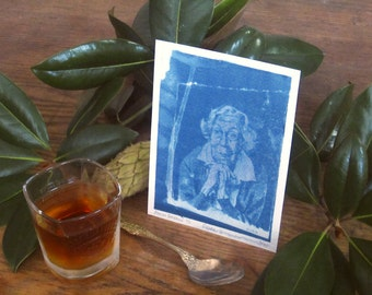 Eudora Welty - Archival print of cyanotype from an original portrait drawing - Edition of 30 - Version 3