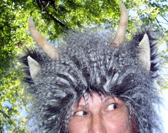 Fur Horn Monster Hat Brown Long Feather Furry Horned Satyr Woodland Creature Adult Costume Halloween Geek Hat