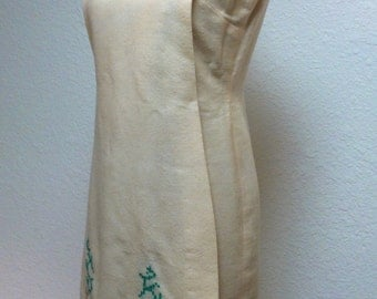 Vintage 1960s Dress Off White Wool with Green Embroidery
