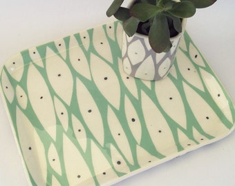 Hand built ceramic tray New Leaf pattern in mint
