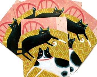 POSTCARDS set of 5 Tuxedo CAT and Black cat folk art painting note cards by Tascha