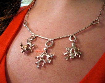 Silver Coral Branch Necklace