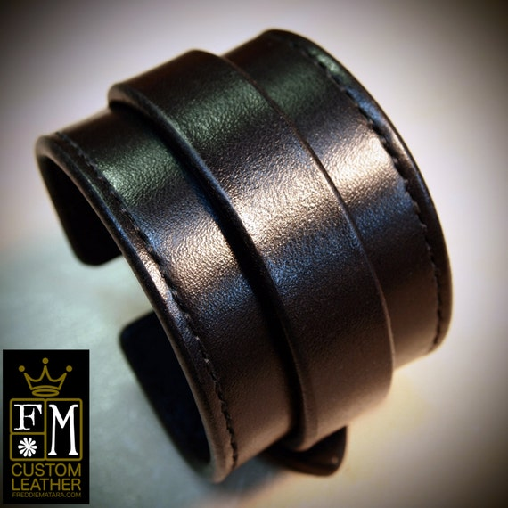 Leather cuff Bracelet black handstitched custom crafted for YOU in NYC by Freddie Matara