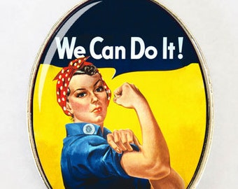 Rosie the Riveter necklace LARGE retro DIY rockabilly large 40x30mm pendant