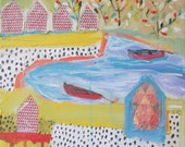 Original painting by Michelle Daisley Moffitt....Red Boats