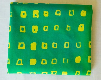 Mini Squares Hand Dyed and Patterned Fabric in Yellow and Green