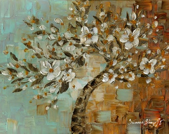 Abstract White cherry blossom tree Fine Art Giclee PRINT on Canvas Landscape Tree Home Decor Large Impressionist Modern Blue Brown Susanna
