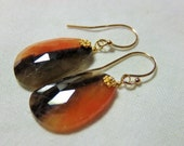 LAST DAY 20% OFF (Code:SALE20) Natural orange, brown and gray color, rose cut flat Sapphire gemstone, and 14K Solid Yellow Gold Earwires