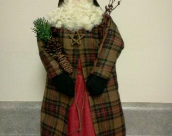 Handmade Fabric Fr. Christmas Santa Doll