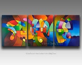 Canvas Giclee Prints from my Original Modern Abstract Triptych Painting, Clear Focus 2, 20x48 inches