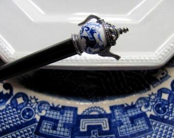 Blue Willow Tea Pot Hair Stick Shawl Pin