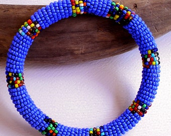 Southwest Beaded Bracelet - Blue and Multi Colored