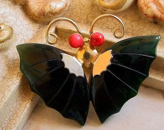 Jade Coral Butterfly Brooch Pin Pendant