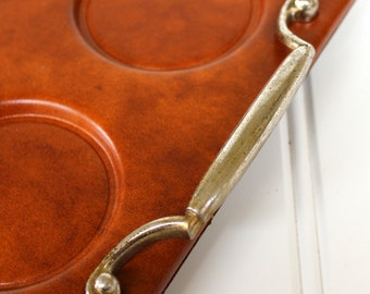 Vintage Drink Tray - Leather Look with Feet - 1950s - Serving Tray w/ Handles - Barware
