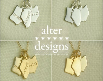 State Necklace, 3 best friend necklace, 3 States, 3 Sisters -  Best Friends  - Long Distance Necklace- BFF Necklace, Friendship Necklace
