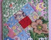 Patchwork Garden / Crochet Vintage Quilt Block Ornament / Tag / Bookmark