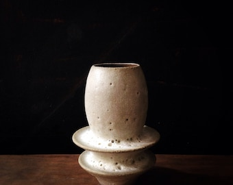 Made to order-   Tiny bud vase in crater white matte by sara paloma